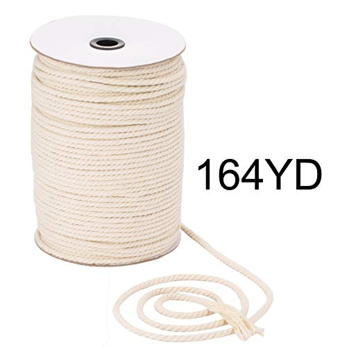 Macrame Cord 5mm x 164yd | 100% Natual Cotton Macrame Rope | 3 Strand Twisted Cotton Cord for Handmade Plant Hanger Wall Hanging Craft Making