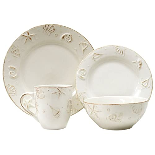 H&ton 16 PC DINNERWARE SET Service for 4 - Dinnerware Set  sc 1 st  Amazon.com & Beach Dinnerware: Amazon.com
