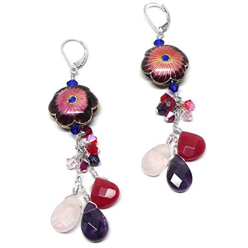 - Chinese Cloisonne Flower Rose Quartz Amethyst Briolette Chain Dangle Chandelier Earrings