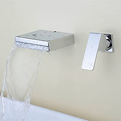Greenspring Waterfall Single Handle Wall Mount Bathroom Faucets Bathtub sink Tub Mixer Tap Square Spout Lavatory faucet