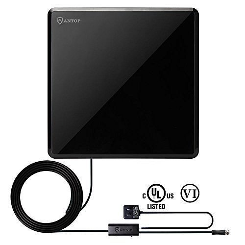 (ANTOP Flat-Panel TV Antenna Built in 4G LTE Filter 50 Mile Long Range 360 Degree Omni-Directional Signal Reception with Smartpass Amplified Booster, 10ft Coaxial Cable, Piano Black,1-Pack)