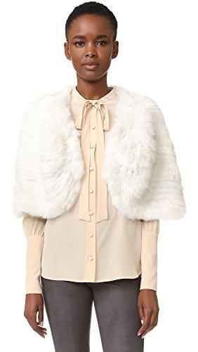Adrienne Landau Women's Knit Fur Capelet, White, One Size ()