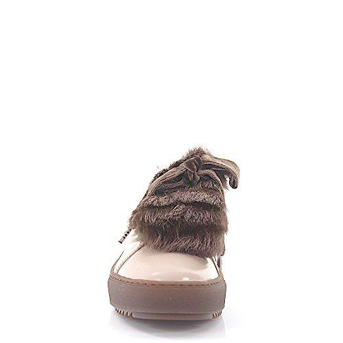 Sneaker D930006 Lacci In Pelle Di Vacchetta Marrone Pelliccia Di Coniglio