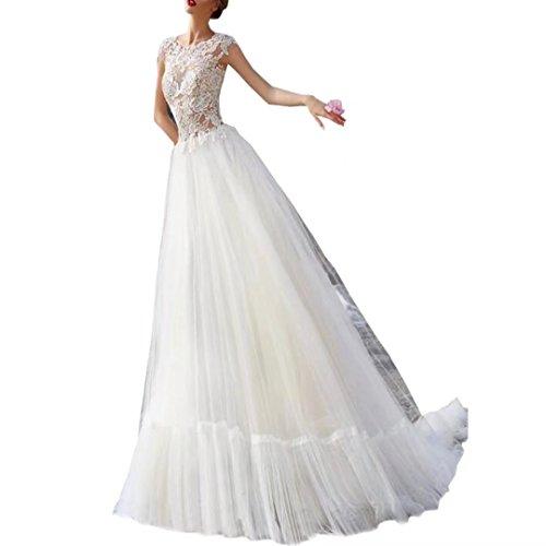Diigi Une Ligne Dentelle Robes De Mariée Mancherons Robes De Mariage De Plage De Balayage Train Robe De Mariée En Tulle De Femmes Blanches