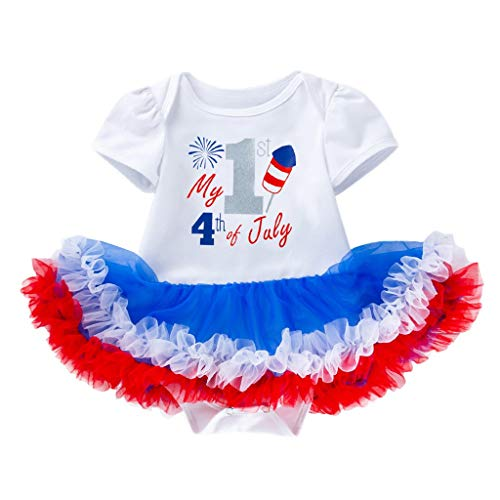 (3-24M My 1st 4th Independence Day Baby Short Sleeve Letter Star Print Net Yarn Dress + Hair Strap Set White)