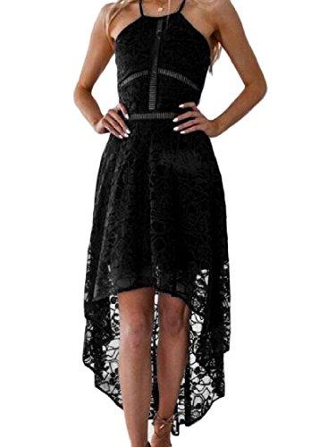 Length Solid Lace Women Mid Black Coolred Sexy Elegant Asymmetrical Dress x5O0HwcTqc