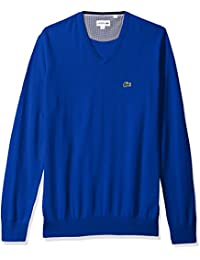 Men's V Neck Cotton Jersey Sweater with Green Croc