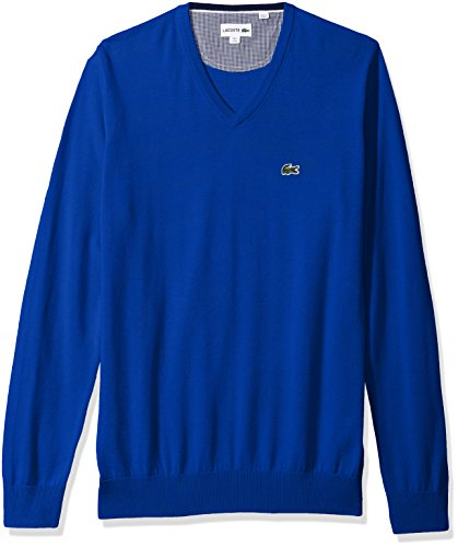 Lacoste+Men%27s+V+Neck+Cotton+Jersey+Sweater+with+Green+Croc%2C+Steamer%2C+6