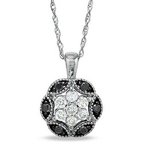 1/4 Ct Round Diamond Flower (0.25 Carat (ctw) 10K White Gold Round Black White Diamond Flower Pendant 1/4)