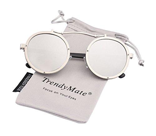 Round Retro Men Metal Driving Circle Sun Glasses Women Steampunk Oversized Vintage Sunglasses (silver silver, - Sunglasses 0 Size