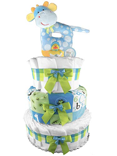 Giraffe 3-Tier Diaper Cake - 50 Size 1 Diapers - Boy Baby Shower Gift - Newborn Gift - Blue and Green from Sunshine Gift Baskets