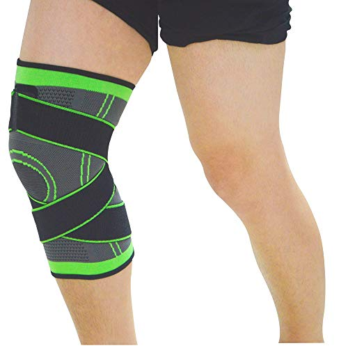 (Top Go Compression Knee Sleeves Honeycomb Knee Pads Knee Brace Support Relieve Arthritis Pain for Outdoor Sports Football Basketball Running and So on(Green, XX-Large))