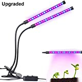 Dual-lamp LED Grow Light Aotson 18W Dimmable 2 Brightness Levels Plant Grow Lamp Lights Bulbs with Adjustable Flexible 360 Degree Gooseneck for Indoor Plants Hydroponics Greenhouse Gardening