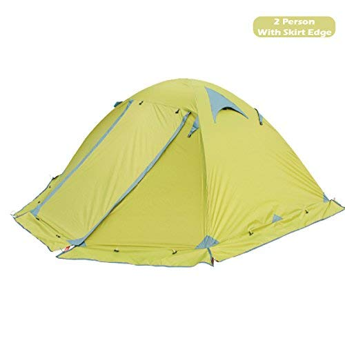 Azarxis 1 2 Person 3 4 Season Backpacking Tents Easy Set Up Waterproof Lightweight Professional Double Layer Aluminum Rod Tent for Camping Outdoor Hiking Travel Climbing (Green - with Skirt Edge)