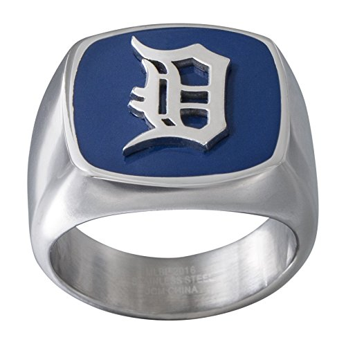 JACMEL JEWELRY INC. MLB Detroit Tigers Men's Ring, Navy/Silver, Size 10 -