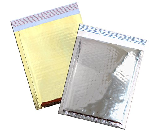 6'' x 10'' MIRRORED Metallic Foil BUBBLE Mailers Size#0 Padded Shipping Bags (10 Lot, Gold & Silver) by Generic