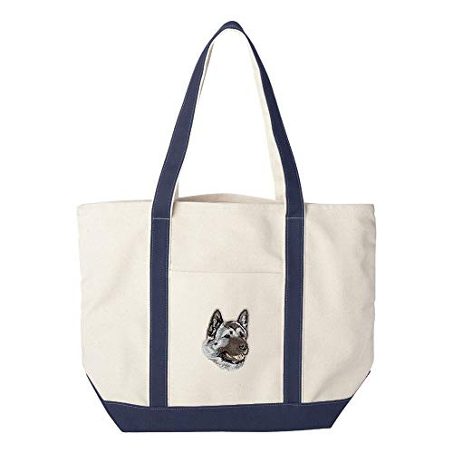 d Embroidered Canvas Tote Bags - Navy - Akita ()