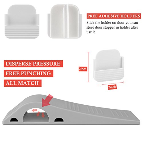 Door Stopper with Free Bonus Holders,4Pack Airsspu Rubber Door Stop Wedge Works on All Surfaces,Safety and Strong Grip(4Pack - Gray) by Airsspu (Image #5)