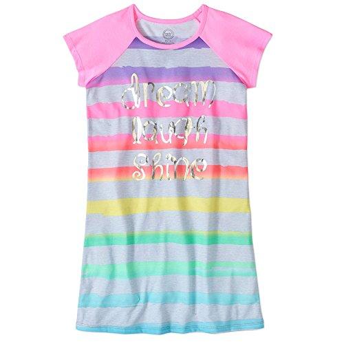 Stripe Gown Candy (Wonder Nation Girls' Raglan Sleeve Sleep Gown (4-5, Cotton Candy Stripes))