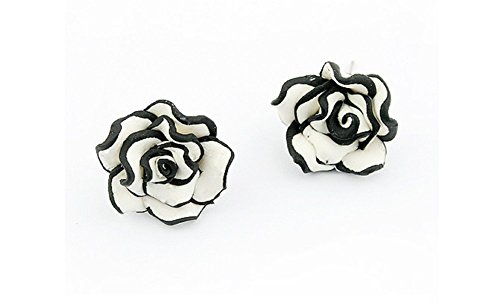 Women Ladies Graceful Ear Stud Black & White Resin Rose Flower Earrings Ear Nail