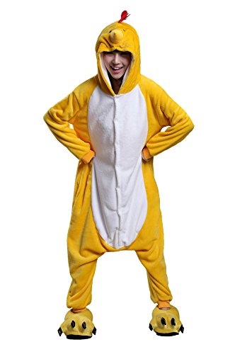 Apiidoo Unisex Chicken One Piece Cosplay Flannel Pajamas Animal Pjs Lounge Wear M