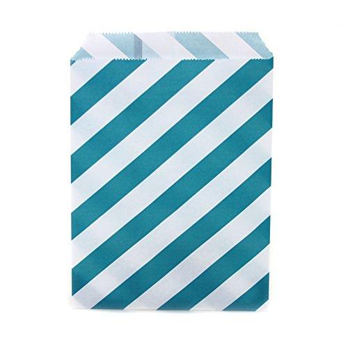 Dress My Cupcake 24-Pack Party Favor Bags, Striped, Aqua ()
