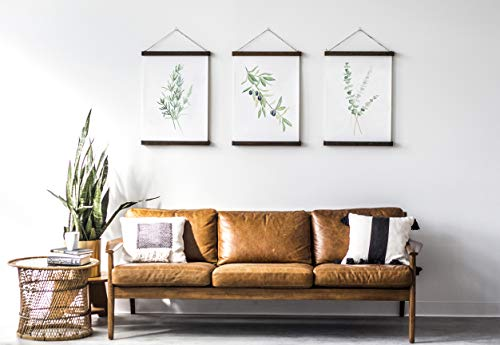 Greenery Branches Hanging Canvas Poster Set of 3, Watercolor wall art, Olive, Eucalyptus, Rosemary