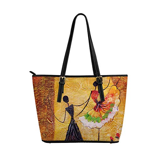InterestPrint Modern Spanish Dance Dancing Girls Oil Painting Women's Leather Tote Shoulder Bags Handbags with Zipper
