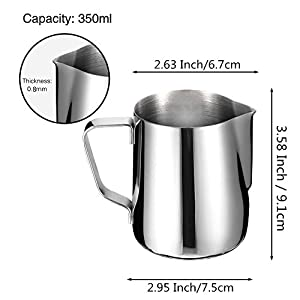 Milk Frothing Jug IdealHouse Japanese Type Thicken Stainless Steel Conical Pitcher Cup for Barista Cappuccino Espresso Coffee Cafe Latte Art by IdealHouse