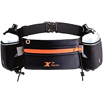 X Fit Factor Running Hydration Belt by Adjustable Fuel Belt with Two BPA-free 10 Ounce Water Bottles for Runners Women and Man - Fits iPhone 6, 7 Plus - No Slip, No Bounce, No Rubbing