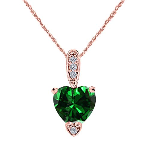 1.15 Carat Heart Shape Gemstone And Diamond Pendant In 10K Rose Gold ()