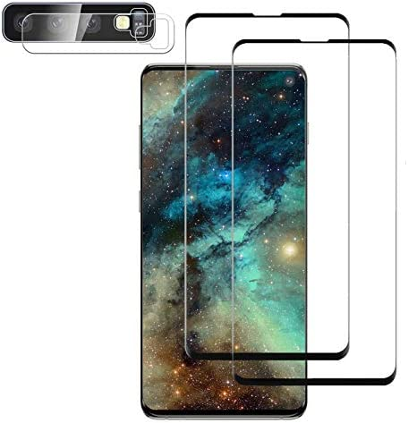 Galaxy S10 Screen Protector, (2-Pack) 9H Tempered Glass Include a Camera Lens Protector,Ultrasonic Fingerprint Compatible,HD Clear,three-D Curved for Samsung S10 Glass Screen Protector