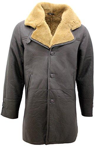 Spesso Pecora Shearling Comfort Con Di Uomo Cintura In Reale Infinity Pelle Lunga Zenzero Fit Marrone Vintage pRqT4p0w