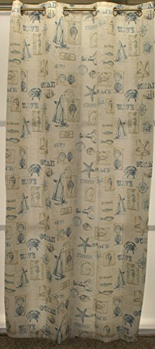 By The Sea Grommet Panel 60Wx84L, Blue
