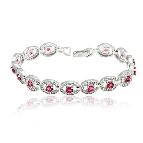 Bridal Tennis Bracelet Round Simulated Ruby CZ 925 Sterling Silver