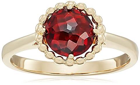 10k Yellow Gold Round Beaded Garnet Ring, Size 7 (Ring Garnet Gold)