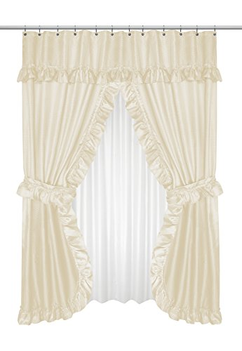 Carnation Home Fashions FSCD-L/08 Lauren Double Swag Shower Curtain Ivory