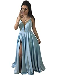 Long Spaghetti Straps Beaded Low Back Satin A-Line Prom Dress With Slit
