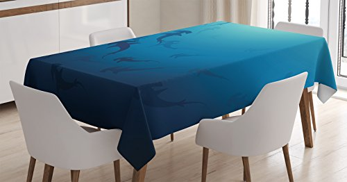 Sea Animals Decor Tablecloth by Ambesonne, Hammerhead Shark School Scan Ocean Dangerous Predator Wild Nature Illustration, Dining Room Kitchen Rectangular Table Cover, 52 X 70 (Most Dangerous Sharks)