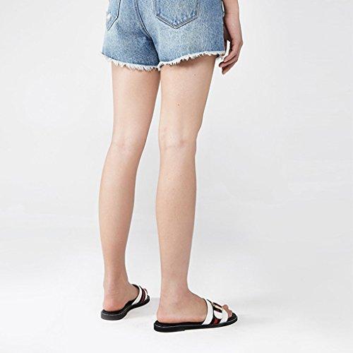 Hebilla Zapatilla 39 Color Yardas Blanco De Cómodo 35 Golpe Cinturón Verano Y Cinta Del Plano Elegante En Jianxin Sandalias Negro Zapatos Mujer Fondo UpCqIq