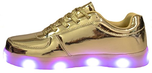 Forever Link Womens Signal-60 Lace Up LED Fashion Sneakers with Light Show/Chargeable Gold BYd66bed