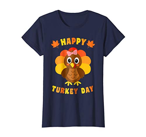 Happy Turkey Day T-shirt - Happy Turkey Day Cute Thanksgiving Turkey Girl T-Shirt