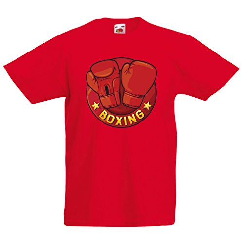 T Shirts for Kids Boxing - MMA, Kickboxing, Box Gloves (5-6 Years Red Multi Color)