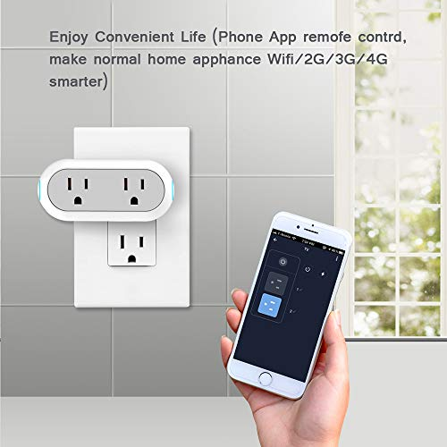 2-in-1 Wi-Fi Smart Plug Socket Dual Outlet Switch Wireless Works with Alexa Google Assistant IFTTT w/Energy Monitoring Timer Home, No Hub Required, 2 Pack by Mypre (Image #3)