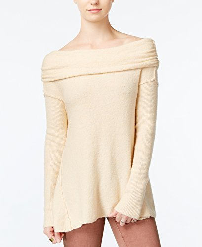Free People Womens Boucle Cowl Neck Pullover Sweater Beige L