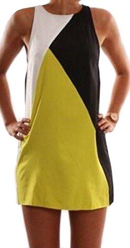 Womens Clubs Neck Color Summer Cromoncent Block Mini Dress Sleeveless Bodycon Slim O Yellow ZwdFqz