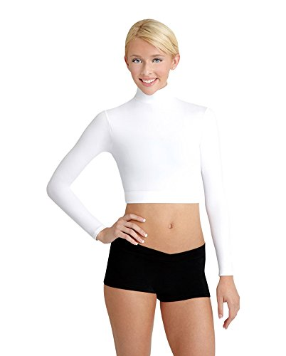 Capezio Women's Turtleneck Long Sleeve Top,White,Small (Dance Midriff)