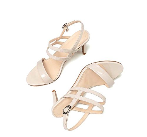 SHINIK Zapatos de mujer Summer New Thin Strap con tacón alto Open-toed hebilla sandalias Zapatos de cuero Beige