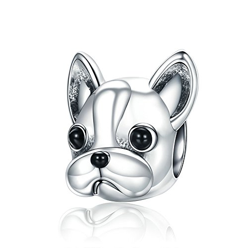 The Kiss Cute Pet Lover Dog Puppy Paw Family Paw Bone Bulldog Dangle 925 Sterling Silver Bead Fits European Charm Bracelet (Cute Puppy Pug Dog) (Loyal Partners French Bulldog Doggy Animal)
