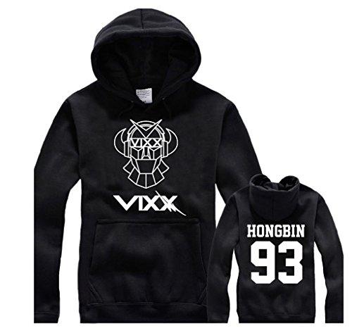 Fanstown VIXX kpop black hoodie with gem pendant+lomo cards black cap #2